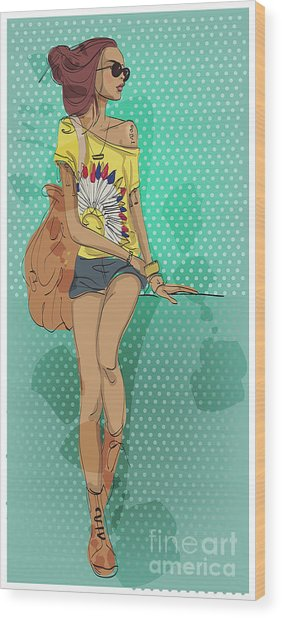 Sexy Fashion Girl In Sketch Style Wood Print