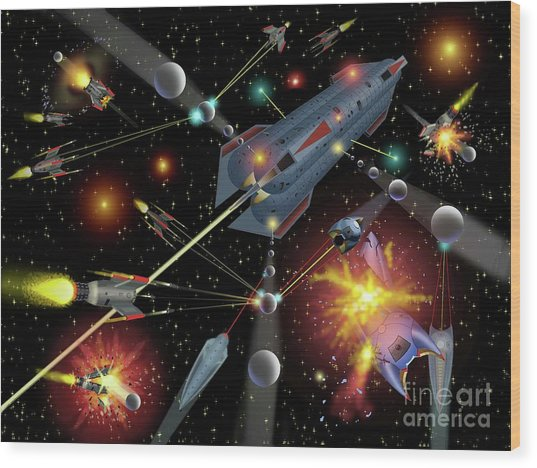 Sferogyls Space Battle Group Wood Print