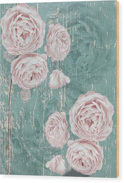Shabby Chic Roses Distressed Wood Print