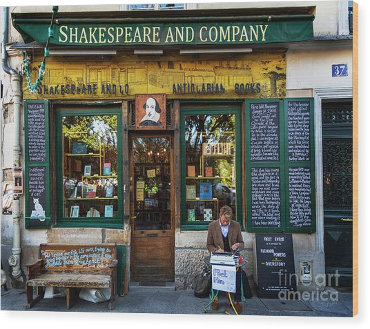 Shakespeare And Company Bookstore Wood Print