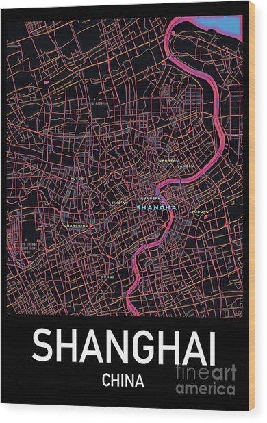 Shanghai City Map Wood Print