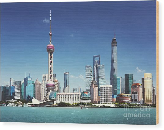 Shanghai Skyline In Sunny Day, China Wood Print