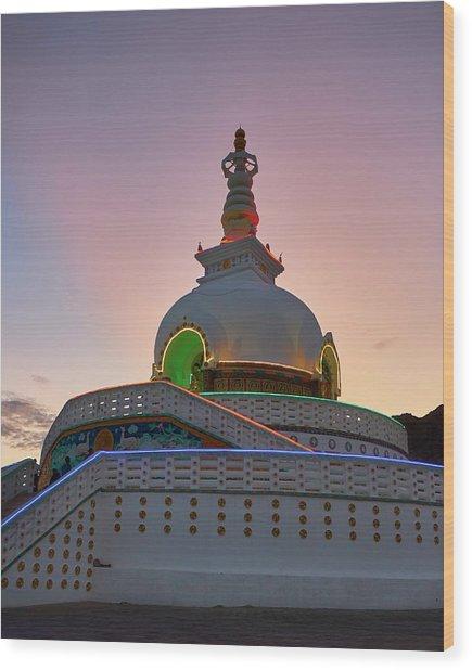 Shanti Stupa Wood Print