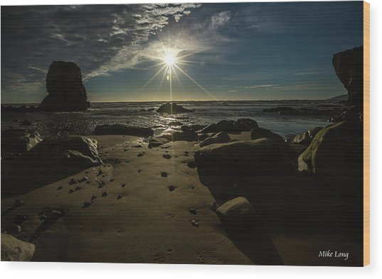 Shell Beach Sunburst Wood Print