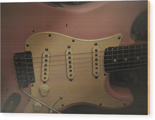Shelly Pink Guitar Wood Print