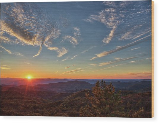 Shenandoah Sunset Wood Print by Zev Steinhardt