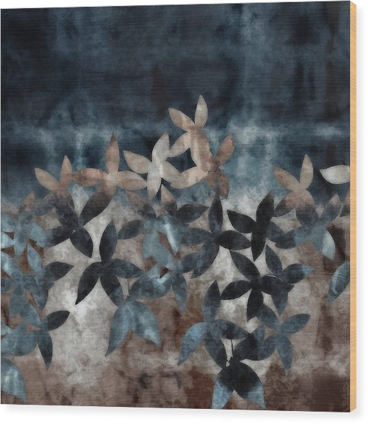 Shibori Leaves Indigo Print Wood Print