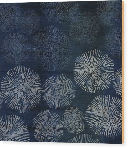 Shibori Sea Urchin Burst Pattern Dark Denim Wood Print