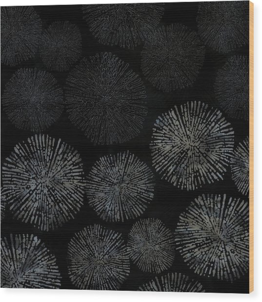 Shibori Sea Urchin Burst Pattern Wood Print