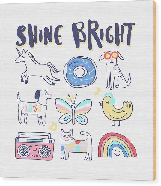 Shine Bright - Baby Room Nursery Art Poster Print Wood Print