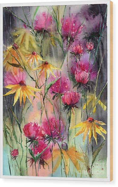 Shiny Rudbeckia And Thistle Wood Print