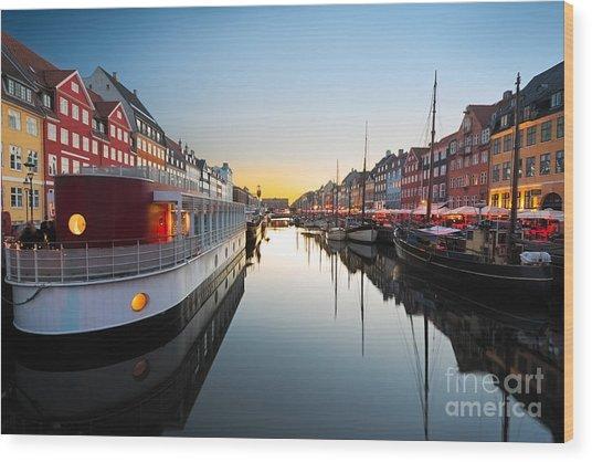 Ships In Nyhavn At Sunset, Copenhagen Wood Print