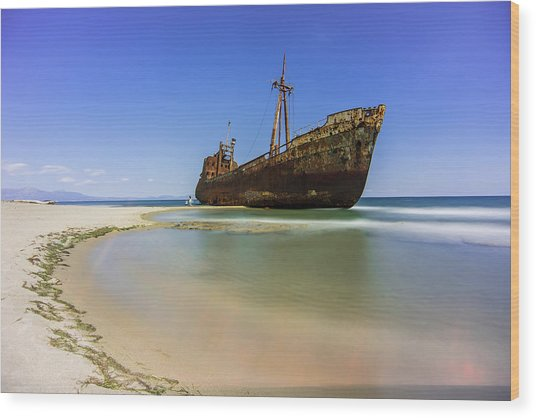 Shipwreck Dimitros Near Gythio, Greece Wood Print