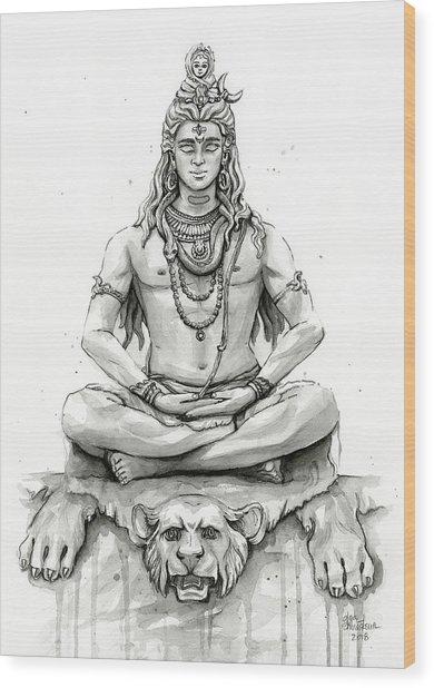 Shiva Portrait Wood Print