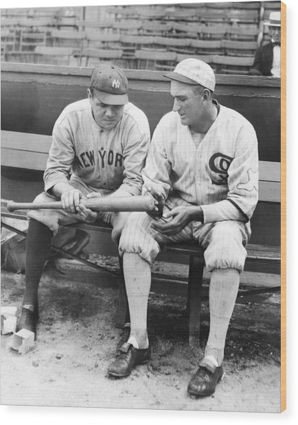 Shoeless Joe Jackson And Babe Ruth Wood Print by New York Daily News Archive