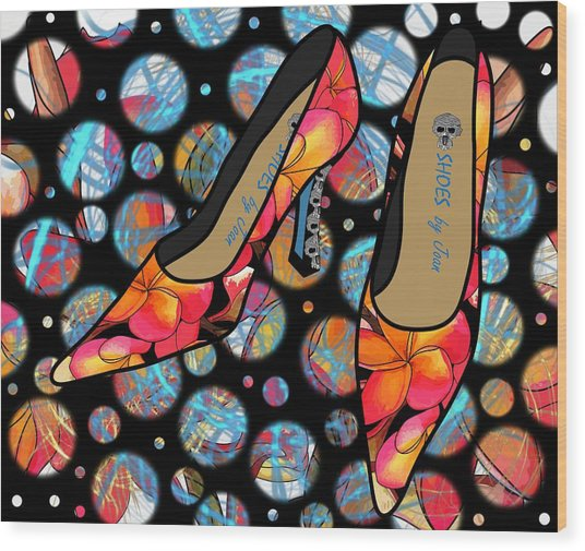 Shoes By Joan - Frangipani Pattern Pumps Wood Print