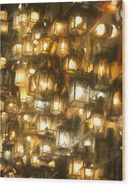 Shopping For Lighting Wood Print