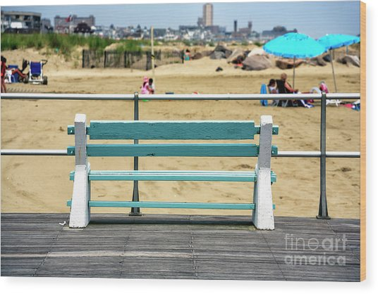Shore Bench At Avon By The Sea Wood Print