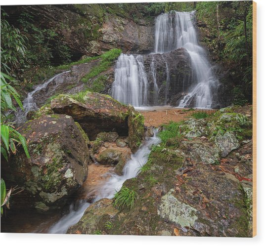 Wood Print featuring the photograph Shu Nu Waterfall 8x10 Horizontal by William Dickman