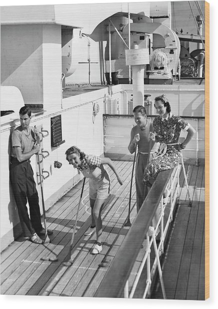 Shuffleboard Players Wood Print by George Marks