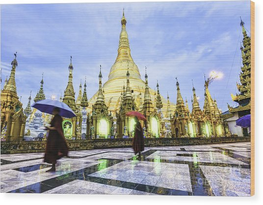Shwedagon Pagoda In Yangon, Myanmar At Wood Print