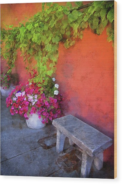 Wood Print featuring the photograph Sidewalk Floral In Brownsville by Thom Zehrfeld