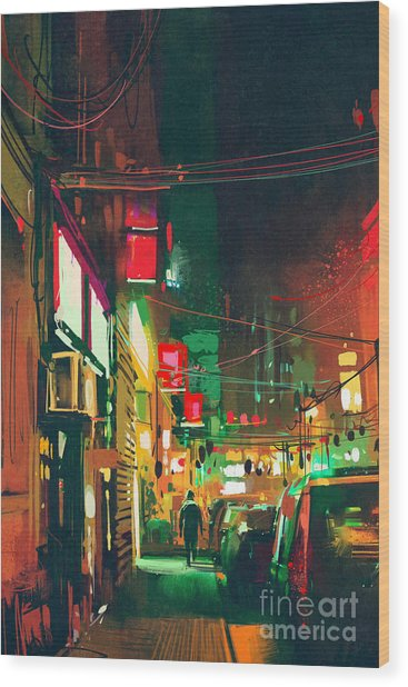 Sidewalk In The City At Night With Wood Print