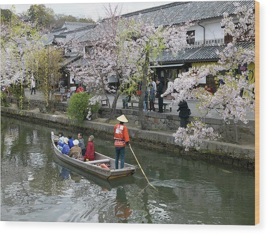Sightseeing Boat On Canal, Kurashiki Wood Print