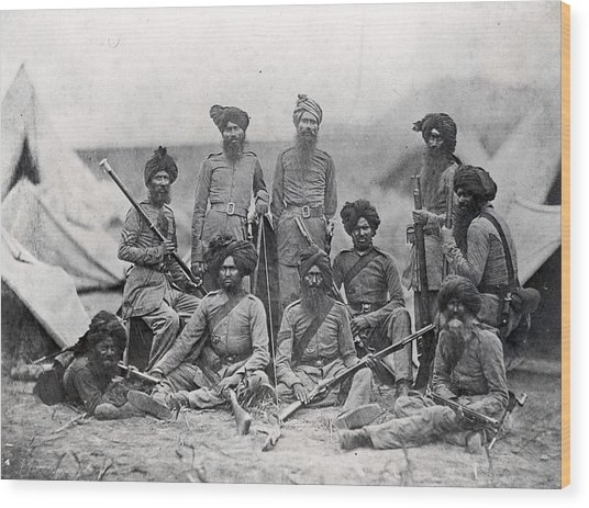 Sikh Soldiers Wood Print by Felice Beato