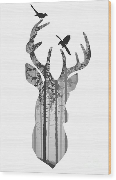 Silhouette Of A Head Of A Deer With Wood Print