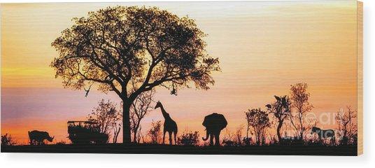 Silhouette Of African Safari Scene With Wood Print