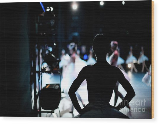 Silhouette Of Ballerina On Background Wood Print