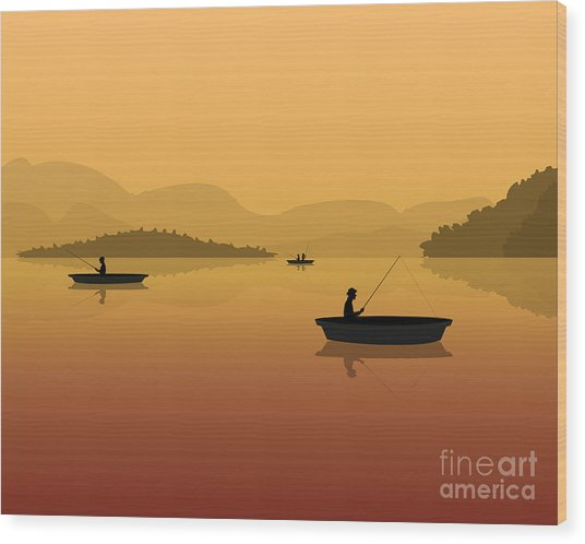 Silhouette Of Fishermen In A Boat With Wood Print