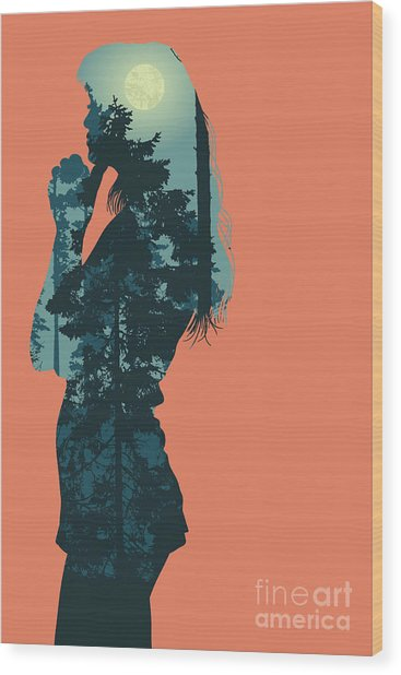 Silhouette Of Girl And Night Forest Wood Print