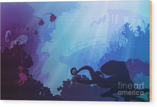 Silhouette Of Underwater Marine Life Wood Print by Eva mask
