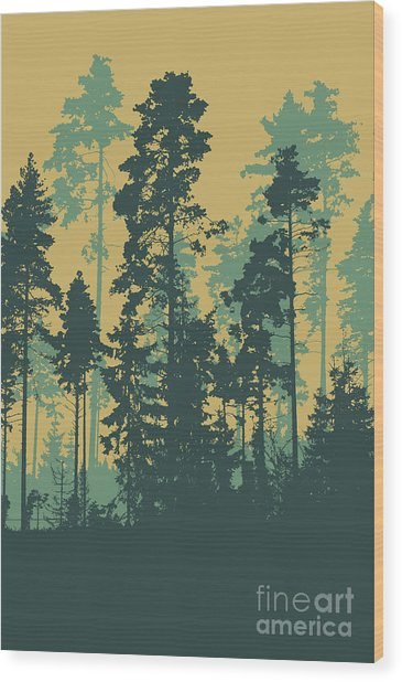 Silhouettes Of Coniferous Forest Wood Print