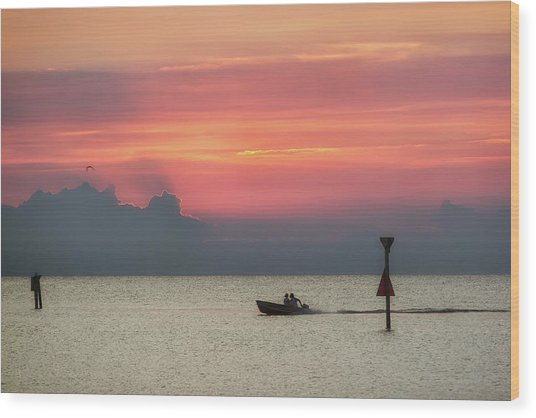 Wood Print featuring the photograph Silhouette's Sailing Into Sunset by Nathan Bush