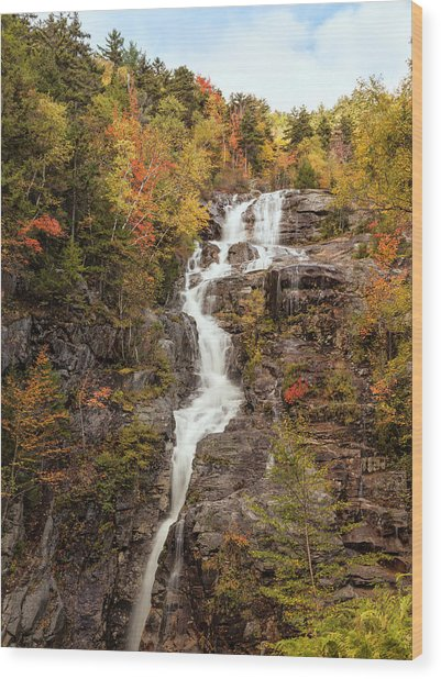 Silver Cascade Waterfall, White Wood Print
