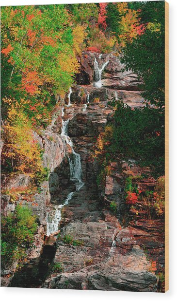 Silver Cascades In The White Mountains Wood Print