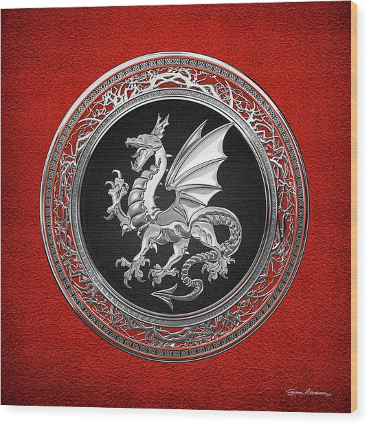 Silver Winged Norse Dragon - Icelandic Viking Landvaettir On Black And Silver Medallion Over Red  Wood Print