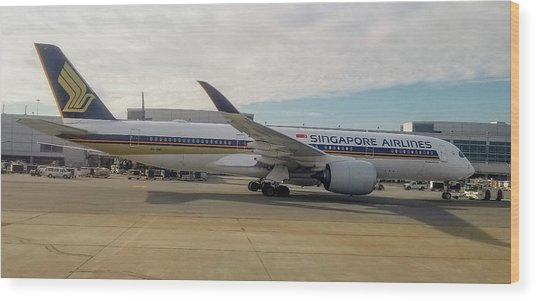 Singapore Airlines Airbus A350 At San Francisco International Airport Wood Print