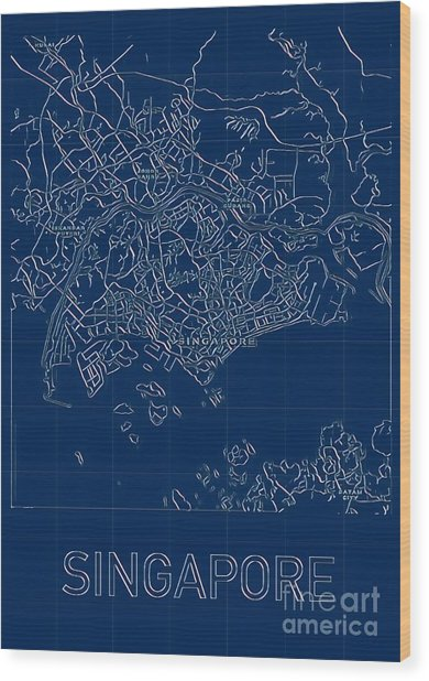 Singapore Blueprint City Map Wood Print
