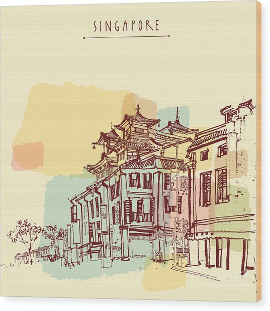 Singapore China Town Drawing. Vintage Wood Print