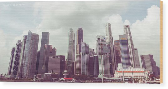 Singapore Cityscape The Second Wood Print