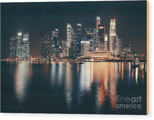 Singapore Skyline At Night With Urban Wood Print by Songquan Deng