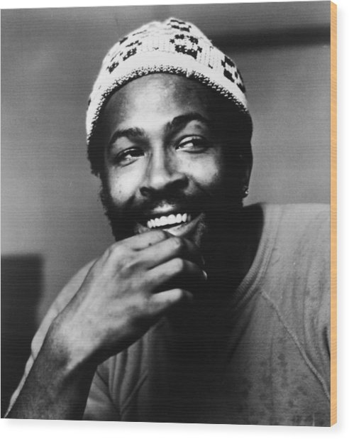 Singer Marvin Gaye In Knit Cap Wood Print