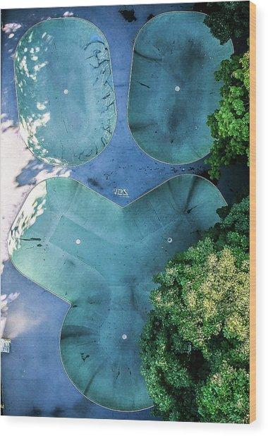 Skatepark - Aerial Photography Wood Print