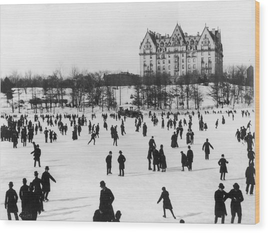 Skating In Central Park, Nyc Wood Print by Fotosearch