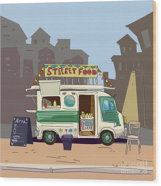 Sketch Car Street Food, City, Cartoon Wood Print by Valeri Hadeev