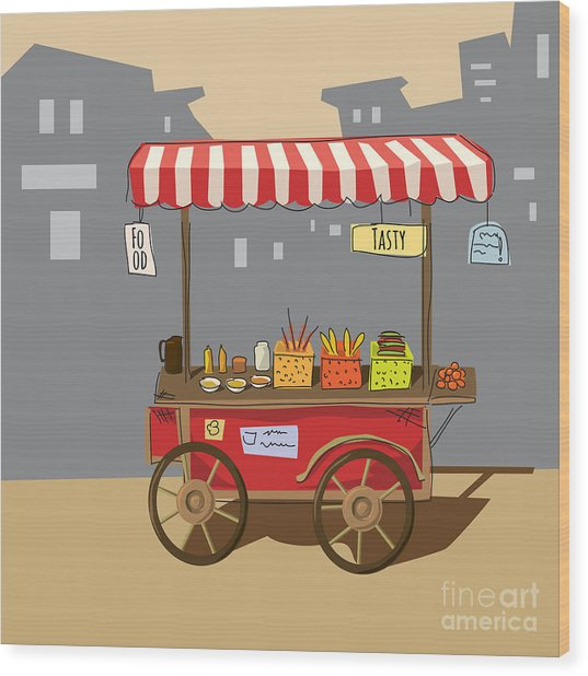 Sketch Of Street Food Carts, Cartoon Wood Print by Valeri Hadeev